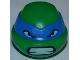 Part No: 12607pb04  Name: Minifigure, Head Modified Ninja Turtle with Blue Mask and Teeth Pattern (Leonardo)