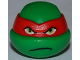 Part No: 12607pb07  Name: Minifig, Head Modified Ninja Turtle with Red Mask and Frown Pattern (Raphael)