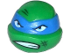 Part No: 12607pb09  Name: Minifig, Head Modified Ninja Turtle with Blue Mask, Scowl and Scratches Pattern (Leonardo)
