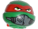 Part No: 12607pb10  Name: Minifig, Head Modified Ninja Turtle with Red Mask and Mouth Muffle Pattern (Raphael)