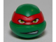 Part No: 12607pb15  Name: Minifigure, Head Modified Ninja Turtle with Red Mask and Teeth Showing on One Side Pattern (Raphael)