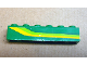 Part No: 3009pb187R  Name: Brick 1 x 6 with Lime Green and Yellow Stripes Pattern Model Right (Sticker) - Set 4589