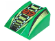 Part No: 30602pb007  Name: Slope, Curved 2 x 2 Lip, No Studs with '89', Lime/Black/White Stripes Pattern