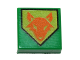 Part No: 3070bpb102  Name: Tile 1 x 1 with Groove with Orange Fox Head on Lime Pentagonal Shield Pattern