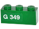 Part No: 3622pb051L  Name: Brick 1 x 3 with 'G 349' Left Pattern (Sticker) - Set 70805