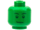Part No: 3626bpb0403  Name: Minifig, Head Male Stern Black Eyebrows, Green Pupils and Chin Dimple Pattern - Blocked Open Stud
