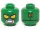 Part No: 3626cpb1169  Name: Minifig, Head Mask with Yellow Eyes and Bared Teeth and Yellow 'H' on Back Pattern - Stud Recessed