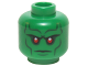 Part No: 3626cpb1228  Name: Minifig, Head Alien with Red Eyes, Dark Bluish Gray Eyebrows, Cheek Lines Stern Expression Pattern (Martian Manhunter) - Stud Recessed