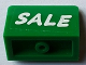 Part No: 4865pb073  Name: Panel 1 x 2 x 1 with White 'SALE' on Green Background Pattern (Sticker) - Set 71016