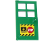 Part No: 60623pb03  Name: Door 1 x 4 x 6 with 4 Panes and Stud Handle with 'STOP' Sign, Fire Danger Triangle and Black and Yellow Danger Stripes Pattern (Sticker) - Set 60112