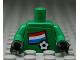 Part No: 973pb0816c01  Name: Torso Soccer Dutch Goalie, Dutch Flag Sticker Front, White Number Sticker Back (specify number in listing) / Green Arms / Black Hands