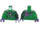 Part No: 973pb1654c01  Name: Torso Batman Zipper Jacket with Question Marks and Dark Purple Scarf Pattern / Dark Green Arm Left / Green Arm Right / Dark Purple Hands