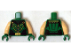 Part No: 973pb1859c01  Name: Torso Black Striped Vest with Clasps and Lime Lines, Zipper, Belt with Gold Buckle and Muscles Pattern (Green Arrow) / Light Flesh Arms / Green Hands