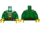 Part No: 973pb1929c01  Name: Torso Pirate Open Jacket Gold Trim over Striped Shirt, Belt with Pouch Pattern / Green Arms / Yellow Hands