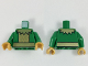 Part No: 973pb2972c01  Name: Torso Gold Scalloped Collar, Plate Armor, and Belt Pattern / Green Arms / Pearl Gold Hands