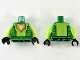 Part No: 973pb3001c01  Name: Torso Nexo Knights Armor with Lime Circuitry and Panel with Bright Light Yellow Fox Head on Orange Pentagonal Shield Pattern / Lime Arms / Black Hands