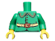 Part No: 973pb3372c01  Name: Torso Rounded Collar, 4 Red Buttons and Gold Belt with Red Buckle Pattern / Green Arms / Yellow Hands