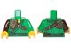 Part No: 973pb3537c01  Name: Torso Ninjago Robe with Dark Green Trim and Sash, Dark Brown Leather Pauldron Pattern / Green Arm Left / Dark Brown Arm Right / Yellow Hands