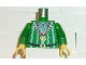 Part No: 973px135c01  Name: Torso Pirate Imperial Armada Ruffles, White Stripes Gold Medal Pattern / Green Arms / Yellow Hands