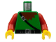 Part No: 973px21c01  Name: Torso Castle Dark Forestman Maroon Collar and Black Crossbelt Pattern / Red Arms / Yellow Hands
