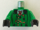 Part No: 973px55c01  Name: Torso Western Bandit Card Suit Vest and Gold Fob Pattern / Green Arms / Black Hands