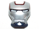Part No: 10908pb04  Name: Minifigure, Visor Top Hinge with Silver Face Shield, White Eyes and Dark Red Trim Pattern