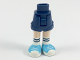 Part No: 11202c00pb13  Name: Mini Doll Friends Hips and Shorts, Light Flesh Legs, White Knee Socks with Dark Blue Stripes, Medium Azure Sneakers Pattern