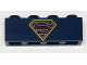 Part No: 3010pb220  Name: Brick 1 x 4 with Dark Red and Gold Superman 'S' Logo Pattern