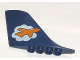 Part No: 53491pb02  Name: Duplo Airplane Large Tail 1 x 9 x 5 with Orange Airplane on White Cloud Pattern