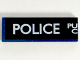 Part No: 63864pb038L  Name: Tile 1 x 3 with White 'POLICE', 'PU', and 'C' (Police Public Call Box) on Black Background Pattern (Left Side)