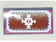 Part No: 88930pb060  Name: Slope, Curved 2 x 4 x 2/3 No Studs with Bottom Tubes with White Geometric Decoration and Light Blue and Magenta Border Pattern (Sticker) - Set 41066