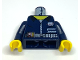 Part No: 973pb0221c01  Name: Torso Alpha Team Logo, Shirt with Zipper, Utility Belt and Gauge Pattern / Dark Blue Arms / Yellow Hands