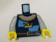 Part No: 973pb0451c01  Name: Torso Castle Fantasy Era Gold Crown on Dark Blue, Medium Blue Quarters, Collar Pattern / Light Bluish Gray Arms / Yellow Hands