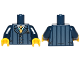 Part No: 973pb0899c01  Name: Torso Suit Pinstripe Jacket and Gold Tie Pattern / Dark Blue Arms / Yellow Hands