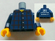 Part No: 973pb1176c01  Name: Torso Studios Plaid Button Shirt Front, 2012 The LEGO Store Woodlands, TX Back Pattern / Dark Blue Arms / Yellow Hands