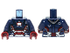 Part No: 973pb1536c01  Name: Torso Armor with '002', 'DANGER', White Rectangle and Silver and Red Plates Pattern / Dark Blue Arms / Dark Red Hands
