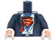 Part No: 973pb1537c01  Name: Torso Suit, Rumpled White Shirt with Red Tie and Red and Yellow Superman 'S' Logo Pattern / Dark Blue Arms / Light Flesh Hands