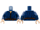 Part No: 973pb1549c01  Name: Torso LotR Robe with Dark Brown Laces and Rope Belt Pattern / Dark Blue Arms / Light Flesh Hands