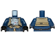 Part No: 973pb2553c01  Name: Torso SW Rebel U-Wing Pilot with Dark Tan Vest and Light Bluish Gray Front Panel Pattern / Dark Blue Arms / Black Hands