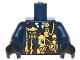 Part No: 973pb2796c01  Name: Torso Military Uniform with Gold Chains, Medals, Dark Red Sash Pattern / Dark Blue Arm Left / Dark Blue Arm Right with Splotches Pattern / Black Hands