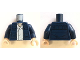 Part No: 973pb2849c01  Name: Torso SW Open Jacket w/ Pockets and White Shirt, with Back Pockets Pattern (Han Solo) / Dark Blue Arms / Light Flesh Hands