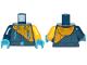 Part No: 973pb3151c01  Name: Torso Jacket Bright Light Orange Diagonal Half with Zipper Pockets Pattern / Bright Light Orange Arm Left / Dark Blue Arm Right / Dark Azure Hands