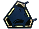 Part No: x1435pb016  Name: Flag 5 x 6 Hexagonal with Dark Blue Cloth Hung on Yellowish Green Frame Pattern (Sticker) - Set 70732