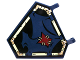 Part No: x1435pb018  Name: Flag 5 x 6 Hexagonal with Dark Blue Cloth Hung on Yellowish Green Frame and Dark Red Patch Pattern (Sticker) - Set 70732