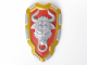 Part No: 54180pb01  Name: Large Figure Shield, 2 x 2 Brick Relief, Bull with Red and Metallic Gold Pattern