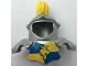 Part No: 51728pb03  Name: Duplo Wear Head Armor with Yellow Top Feather and Blue and Yellow Breastplate with Lion and Crown Pattern
