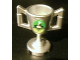 Part No: 89801pb03  Name: Minifig, Utensil Trophy Cup with World Racer and Smoke on Green and Lime Background Pattern (Sticker) - Set 8899