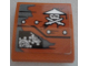 Part No: 15068pb121L  Name: Slope, Curved 2 x 2 No Studs with Ninja Skull with Crossed Swords, Rivets and Gears Pattern Model Left Side (Sticker) - Set 70603