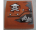 Part No: 15068pb121R  Name: Slope, Curved 2 x 2 No Studs with Ninja Skull with Crossed Swords, Rivets and Gears Pattern Model Right Side (Sticker) - Set 70603
