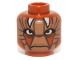 Part No: 3626cpb0987  Name: Minifig, Head Alien with SW Dark Tan Features and White Horns Pattern (Nikto Guard) - Stud Recessed